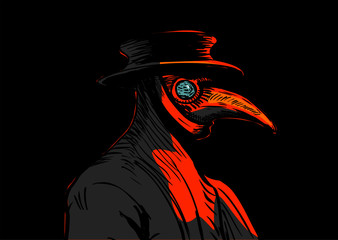 Plague doctor with bird mask and hat. Medieval spooky costume with long beak.