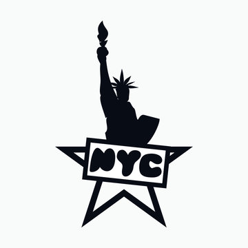Statue of Liberty New York USA America star lettering logo icon Hand drawn Modern color design Fashion print for clothes apparel greeting invitation card picture banner poster flyer websites Vector