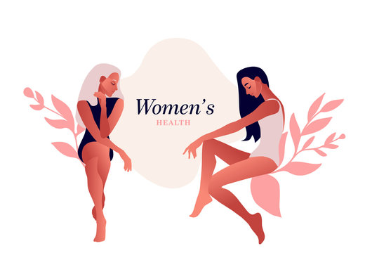 Sad women. Urinary incontinence, cystitis, involuntary urination woman vector illustration. Bladder problems. Menopause, women's health, genital infection, hygiene. Female problems