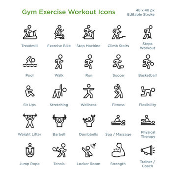 Gym Exercise Workout Icons - Outline