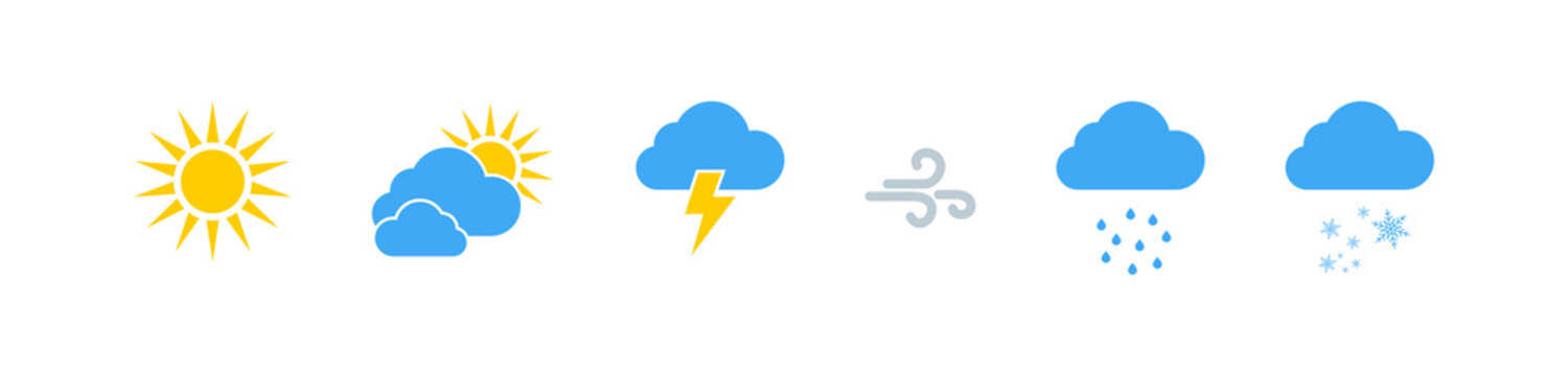 Weather vector icons collection. Weathers icons. Weather forecast sign symbols. Weathers signs in flat design. Eps10