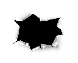 Fototapeta Torn black hole on a white background of a paper sheet obraz