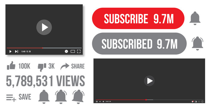 Video player, subscribe button flat icon. Views, thumb up, thumb down Vector illustration