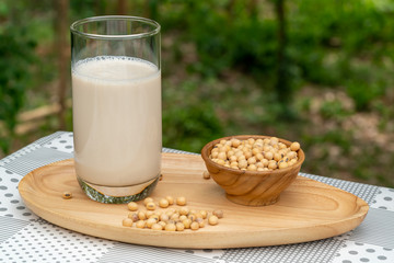 Fototapete - Soybean milk or Soy milk in a glass and soy beans in wooden bowl on wooden tray