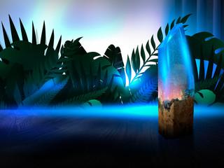 Fotomurales - Night lamp, neon blue light, epoxy crystal light. Teine room blue neon light. Abstract night background.