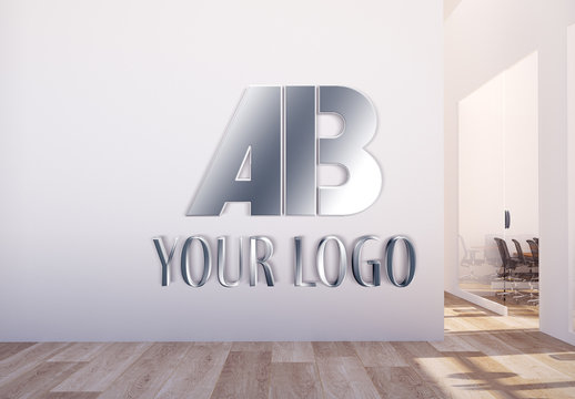 Metallic Logo in Office Hall Mockup
