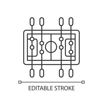Table soccer pixel perfect linear icon. Traditional friendly party recreational activity thin line customizable illustration. Contour symbol. Vector isolated outline drawing. Editable stroke