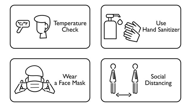COVID -19 protection policies : Temperature check, use hand sanitizer, wear a face mask, social distancing. Suit for sign in reopen restaurants, store, office etc. Line icon. Vector illustration.
