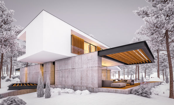 3d rendering of modern cozy house on the hill with garage and pool for sale or rent with beautiful landscaping on background. Cool winter evening with cozy light inside.