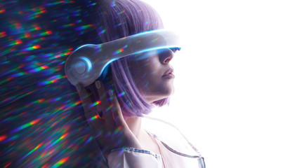 Wall Mural - Beautiful woman with purple hair in futuristic costume over white background. Girl in glasses of virtual reality. Augmented reality, game, future technology, AI concept. VR. Blue neon light.