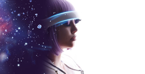Wall Mural - Beautiful woman with purple hair in futuristic costume over white background. Girl in glasses of virtual reality. Augmented reality, game, future technology, AI concept. VR. Blue, violet neon light.