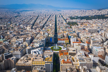 Aerial view of  famous round square of Omonia, Attica, Greece