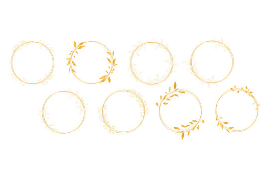 Botanical line art silhouette golden leaves wreath hand drawn pencil sketches isolated on white background. Fine art floral elegant graphic frame for wedding invitation card. Vector illustration
