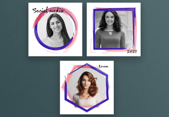 Square Social Media Post Layouts with Abstract Frames