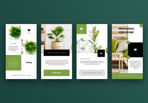 Social Media Story Layouts with Green Accents