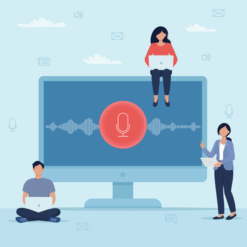 Audio recording concept. Small people characters watch the creation of an audio recording, or its reproduction. Vector illustration in flat style