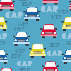 Seamless cartoon cars pattern. Vector transport auto background for kids.