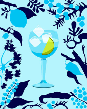Gin and Tonic cocktail illustration