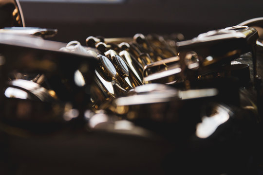 Close up of the saxophone keys.