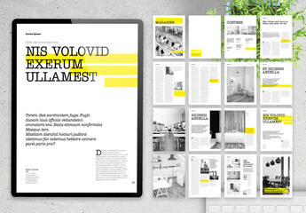 Modern Clean Digital Magazine Layout with Yellow Accents