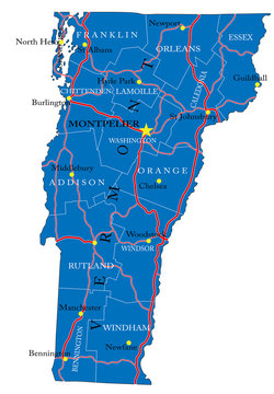 Vermont state political map