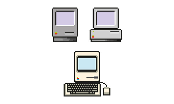 8 bits personal computer (PC), pixel art vectors, three models