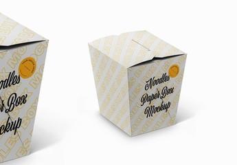 3D Isometric View Noodles Paper Box Mockup