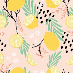 Fruit seamless pattern, lemons with branches, leaves and flowers on pink background. Summer vibrant design. Exotic tropical fruit. Colorful vector illustration