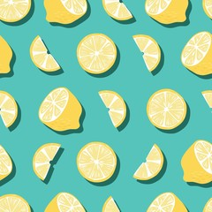 Fruit seamless pattern, lemons with shadow on bright green background. Summer vibrant design. Exotic tropical fruit. Colorful vector illustration