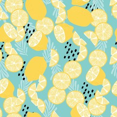 Fruit seamless pattern, lemons with tropical leaves and abstract elements on light blue background. Summer vibrant design. Exotic tropical fruit. Colorful vector illustration
