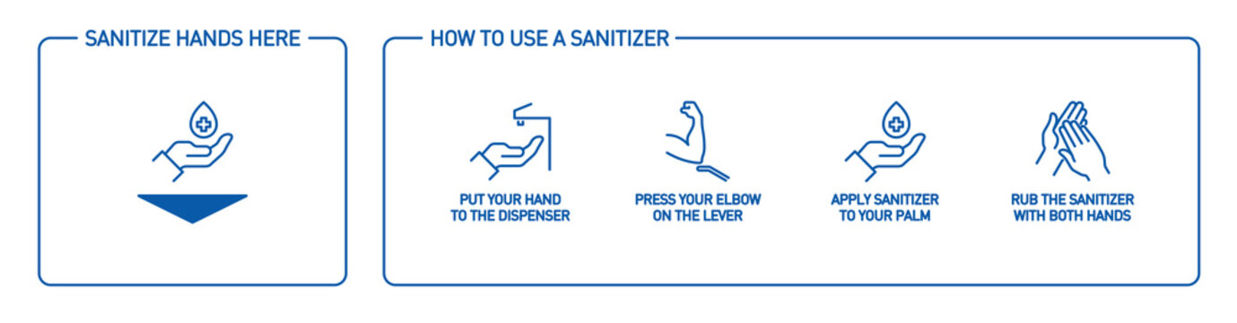Infographic illustration of How to use hand sanitizer properly. instructions using wall dispenser antiseptic for hand disinfection: press your elbow on button lever, apply sanitizer on palm, rub hands