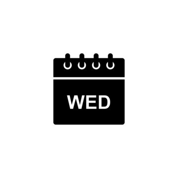 Black calendar icon for Wednesday day of the week. Simple black glyph date shape for web design, user interface, events, appointments, meetings.