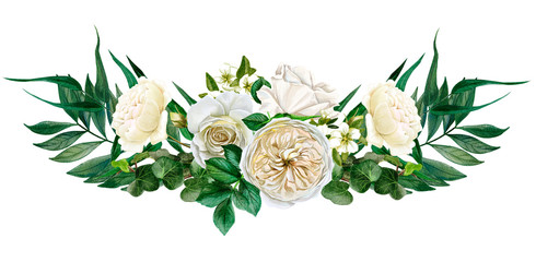 White flowers symmetric bouquet, roses and leaves Fotobehang