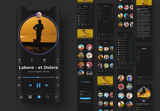 UI Layout Kit Mobile Music Service and Player Application
