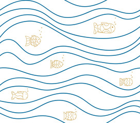 Seamless white pattern with drawn fish and waves. Vector abstract sea background. Simple baby's drawing, Wallpaper, texture.