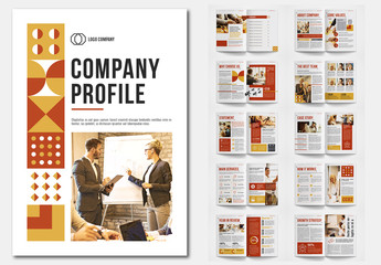 Company Profile Layout with Red and Yellow Accents