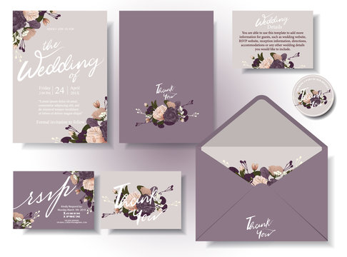 Vintage wedding invitation card in lavender tone, with flowers and berries writing around the frame .rsvp . Envelopes. Decorated in sets. Illustration/vector