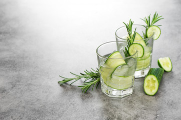 Fresh drink cucumber rosemary herb Cold summer beverage