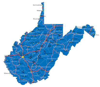 West Virginia state political map