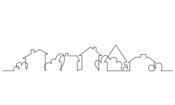 City scape, house, residential building concept. One line drawing