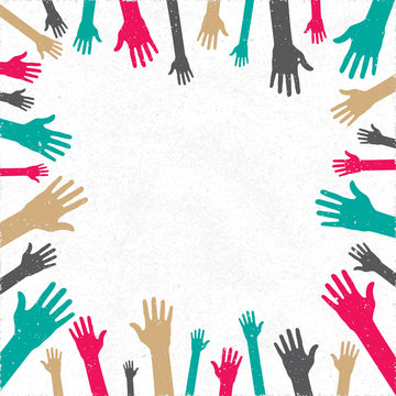 Donation Leaflet Booklet or Banner Blank Template with Plenty Hands of Various People Symbolizing Human Community Help - Multicolor on White Paper Background - Flat Graphic Design