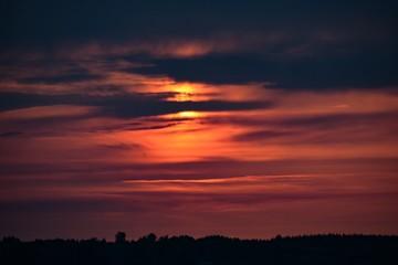 Fototapeten Kastanienbraun Scenic View Of Silhouette Landscape Against Sky During Sunset