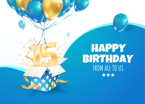 Celebrating of 15 th years birthday vector 3d illustration. Fifteen anniversary celebration. Open gift box with explosions confetti and golden numbers flying on balloons on light background