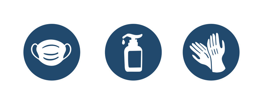 Sanitation accessories Icon - help during Coronavirus or COVID19