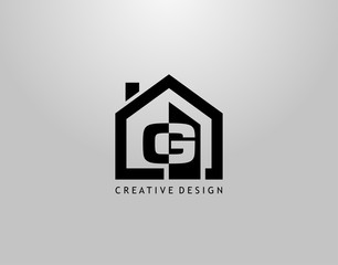 Real Estate G Letter Logo. Negative Space of Initial G and Minimalist House Shape