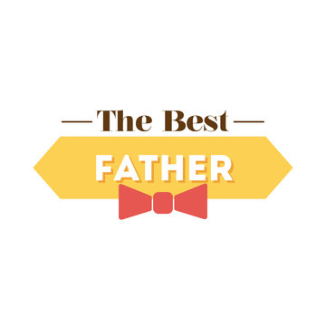 happy fathers day seal with bowtie flat style icon
