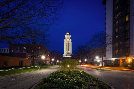 Lincoln Nebraska state capitol at night