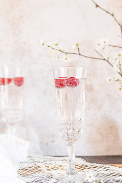 Champagne glass with rasberries