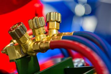 Brass valves for gas welding equipment.