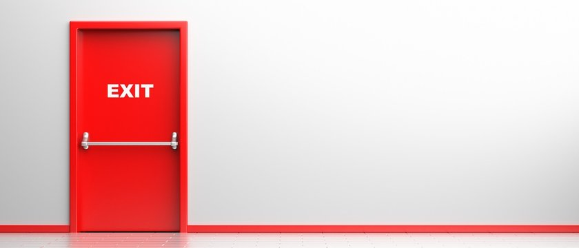 Fire exit sign on a red door in white color building interior background. Fire safety escape route. 3d illustration